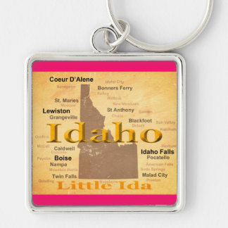 Aged Idaho State Pride Map Silhouette Keychains