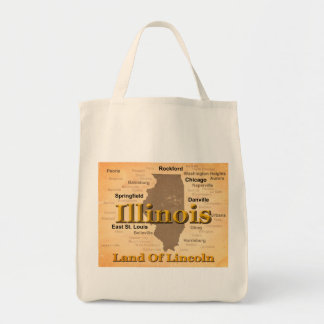 Aged Illinois State Pride Map Silhouette Bag