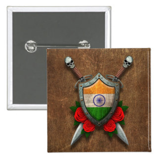 Aged Indian Flag Shield and Swords with Roses Button