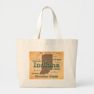 Aged Indiana State Pride Map Silhouette Canvas Bags