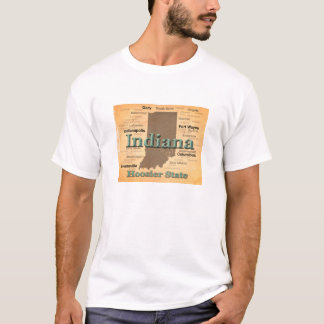 Aged Indiana State Pride Map Silhouette T-Shirt