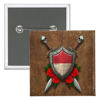 Aged Indonesian Flag Shield and Swords with Roses Pins