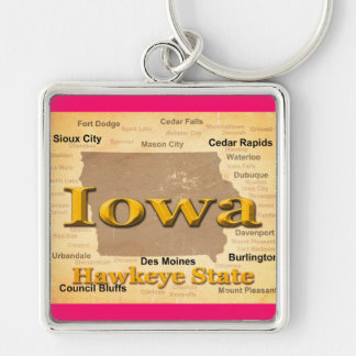 Aged Iowa State Pride Map Silhouette Keychain