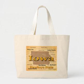 Aged Iowa State Pride Map Silhouette Tote Bag