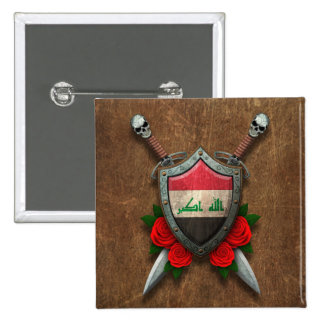 Aged Iraqi Flag Shield and Swords with Roses Pin