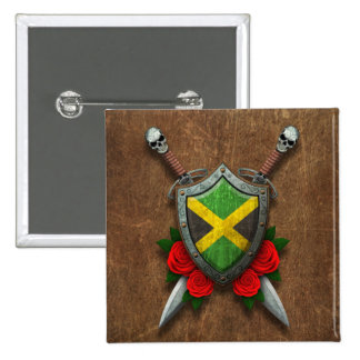 Aged Jamaican Flag Shield and Swords with Roses Buttons