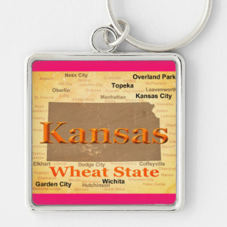 Aged Kansas State Pride Map Silhouette Keychains