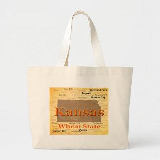 Aged Kansas State Pride Map Silhouette Tote Bag