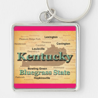 Aged Kentucky State Pride Map Silhouette Keychain