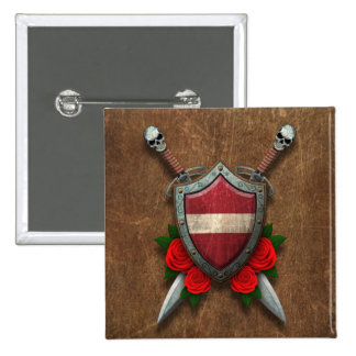 Aged Latvian Flag Shield and Swords with Roses Button