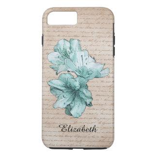 Aged Letter Aqua Illustrated Flower Customize Name iPhone 7 Plus Case
