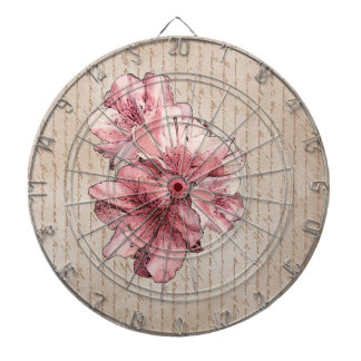 Aged Letter Pink Illustrated Flower Customize Name Dart Board