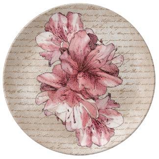 Aged Letter Pink Illustrated Flower on Brown Porcelain Plate