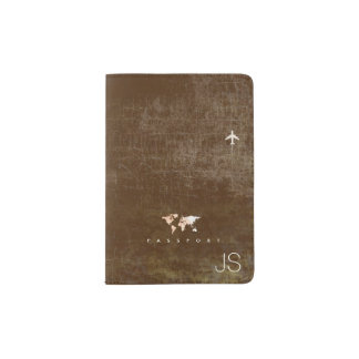aged  look world map with name, brown travel passport holder
