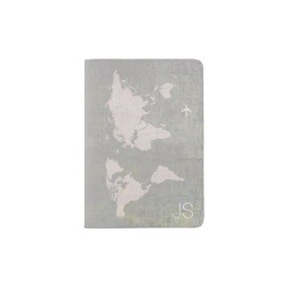 aged  look world map with name, gray travel passport holder