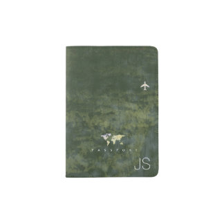 aged look world map with name, green travel passport holder