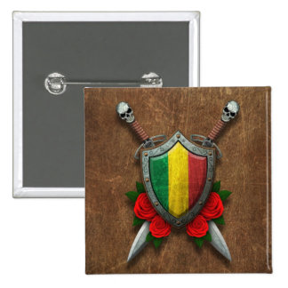 Aged Mali Flag Shield and Swords with Roses Button