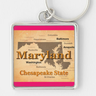Aged Maryland State Pride Map Silhouette Keychains