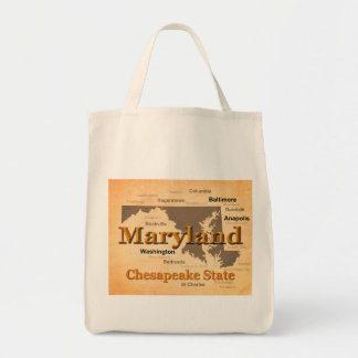 Aged Maryland State Pride Map Silhouette Tote Bag