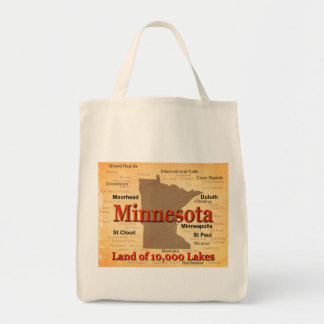 Aged Minnesota State Pride Map Tote Bag