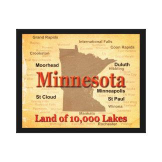 Aged Minnesota State Pride Map Canvas Prints