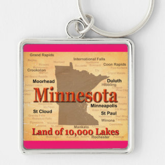 Aged Minnesota State Pride Map Key Chains