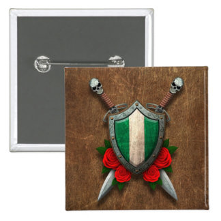 Aged Nigerian Flag Shield with Red Roses Pinback Button