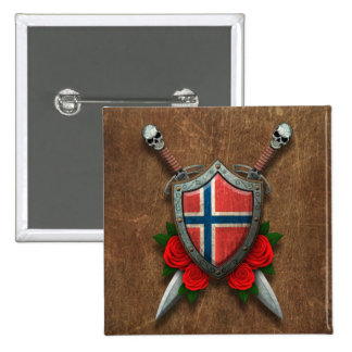 Aged Norwegian Flag Shield and Swords with Roses Button