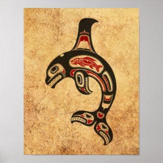 Aged Red and Black Haida Spirit Killer Whale Print
