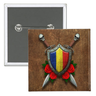 Aged Romanian Flag Shield and Swords with Roses Pins