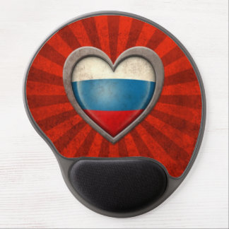 Aged Russian Flag Heart with Light Rays Gel Mouse Mats