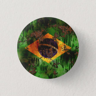 Aged Rusted Brazil Flag 3 Cm Round Badge