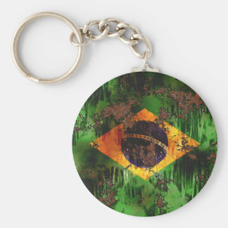 Aged Rusted Brazil Flag Basic Round Button Key Ring