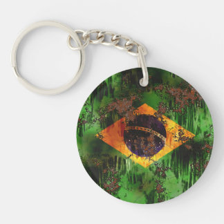 Aged Rusted Brazil Flag Double-Sided Round Acrylic Key Ring