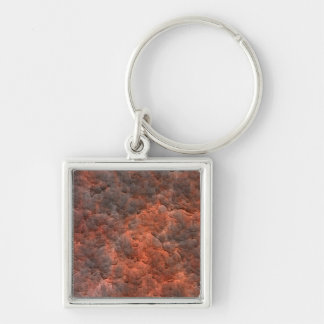 Aged Rusted Metal Silver-Colored Square Key Ring