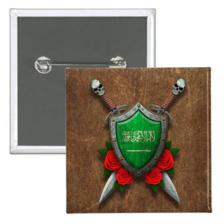 Aged Saudi Arabia Flag Shield with Red Roses Buttons