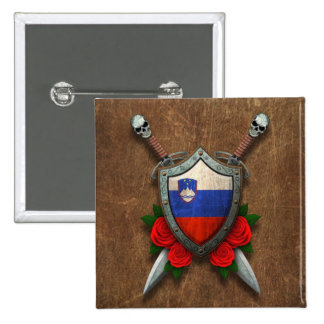 Aged Slovenian Flag Shield and Swords with Roses Pinback Button