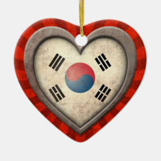 Aged South Korean Flag Heart with Light Rays Ceramic Heart Decoration