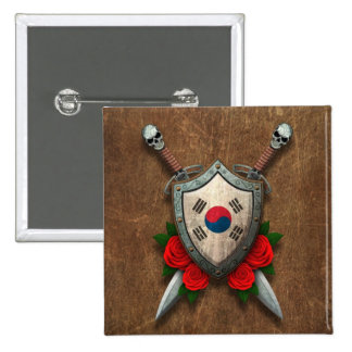 Aged South Korean Flag Shield and Swords with Rose Pin