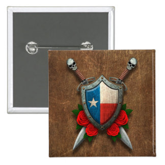 Aged Texas Flag Shield and Swords with Roses Pinback Buttons