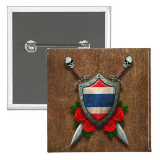Aged Thai Flag Shield and Swords with Roses Pinback Buttons