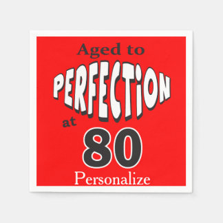 Aged to Perfection at 80  | 80th Birthday Paper Napkins
