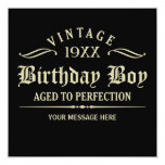 """Aged to Perfection Black 5.25""""x5.25"""" Invitation"""