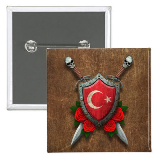 Aged Turkish Flag Shield and Swords with Roses Pins