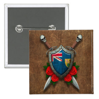 Aged Turks and Caicos Flag Shield and Swords Pin