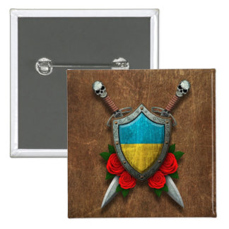 Aged Ukrainian Flag Shield and Swords with Roses Buttons
