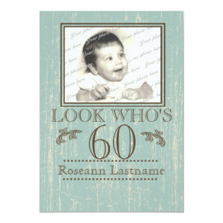 Aged Wood 60th Birthday Photo Card