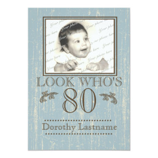 Aged Wood 80th Birthday Photo Blue 13 Cm X 18 Cm Invitation Card