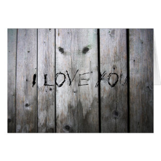 Aged Wood Board I Love You Card