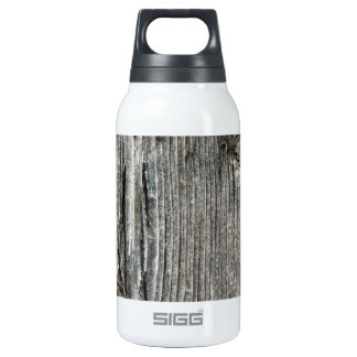 Aged wood fence posting from rustic bush setting 0.3 litre insulated SIGG thermos water bottle